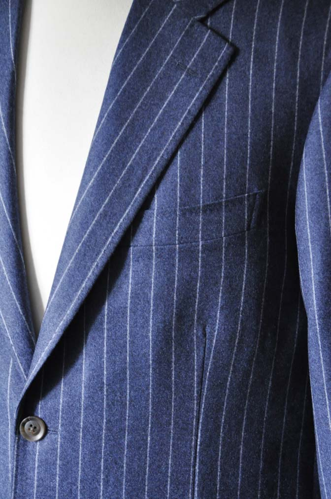 DSC0303-4 お客様のスーツの紹介- CANONICOネイビーフランネルストライプ スーツ- 名古屋の完全予約制オーダースーツ専門店DEFFERT