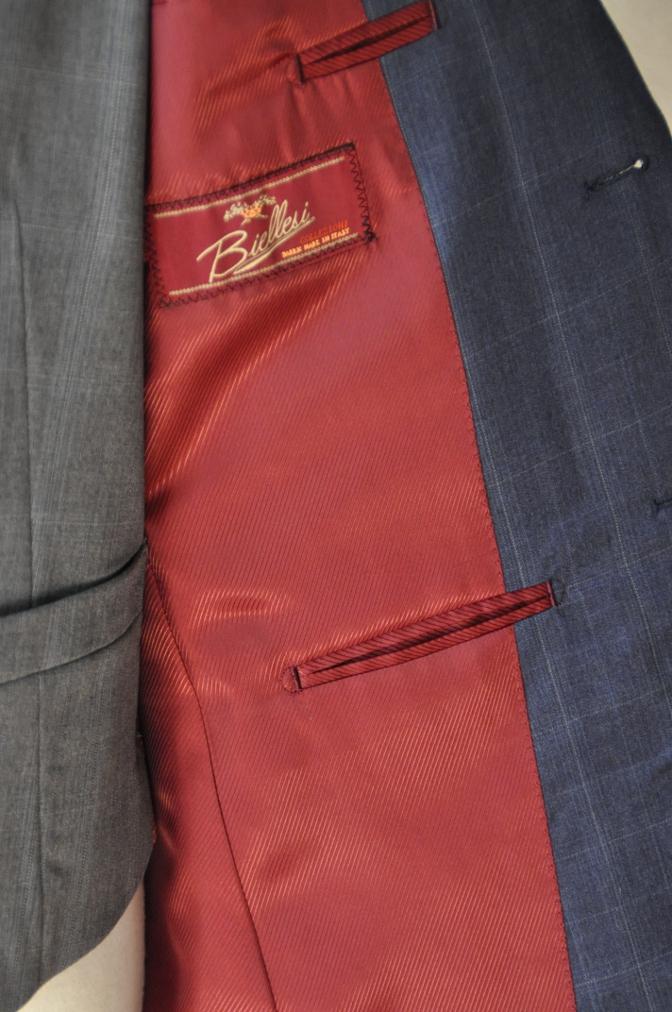 DSC0303 お客様のウエディング衣装の紹介- BIELLESI ネイビーチェックスーツ グレーチェックベスト- 名古屋の完全予約制オーダースーツ専門店DEFFERT