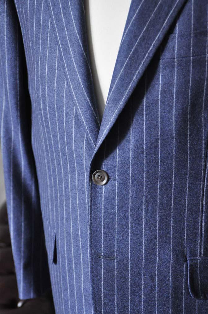 DSC0304-2 お客様のスーツの紹介- CANONICOネイビーフランネルストライプ スーツ- 名古屋の完全予約制オーダースーツ専門店DEFFERT