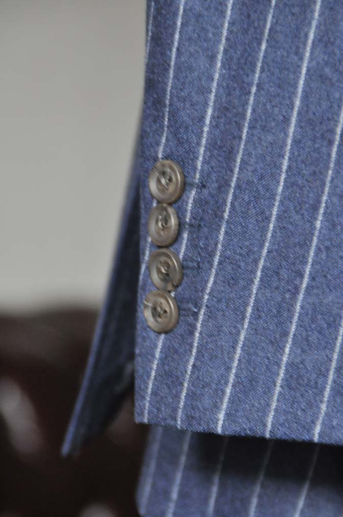 DSC0307-1 お客様のスーツの紹介- CANONICOネイビーフランネルストライプ スーツ- 名古屋の完全予約制オーダースーツ専門店DEFFERT