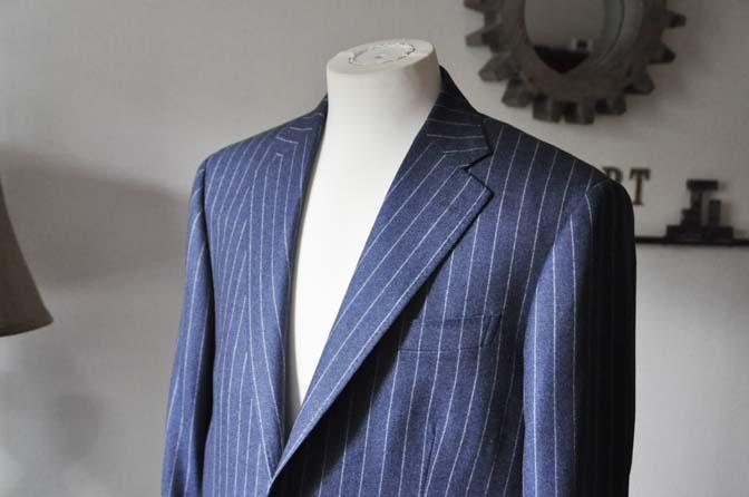 DSC0312-2 お客様のスーツの紹介- CANONICOネイビーフランネルストライプ スーツ- 名古屋の完全予約制オーダースーツ専門店DEFFERT