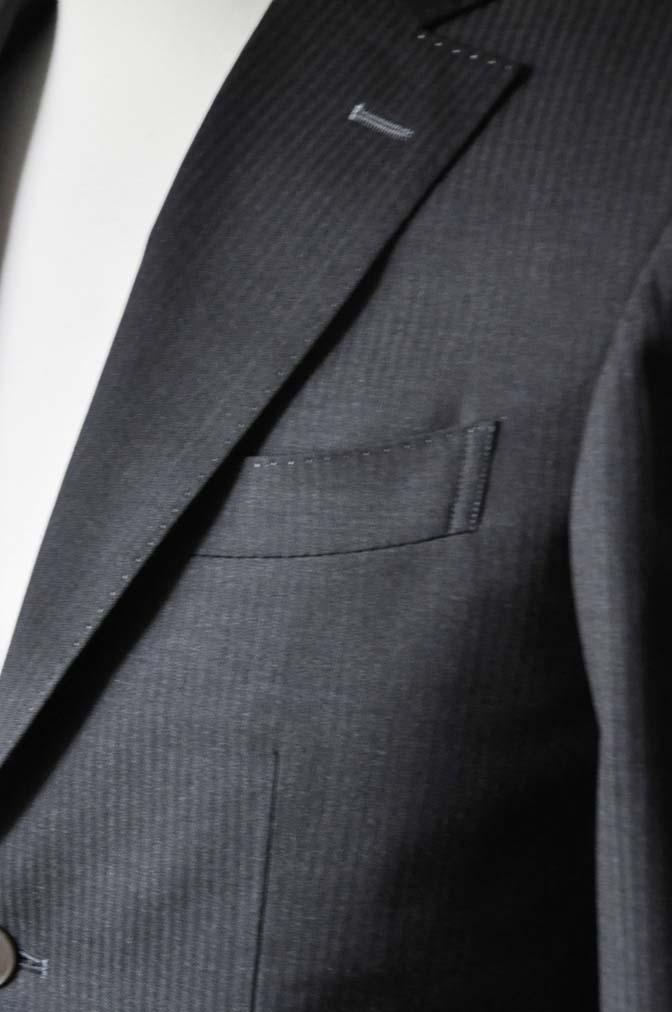 DSC0327-3 お客様のスーツの紹介- Biellesi チャコールグレーヘリンボーンスーツ-