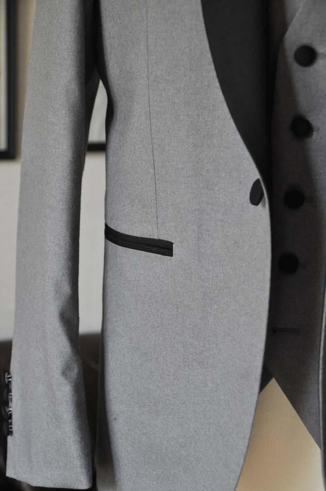 DSC0330-1 お客様のウエディング衣装の紹介- グレーショールカラータキシード-