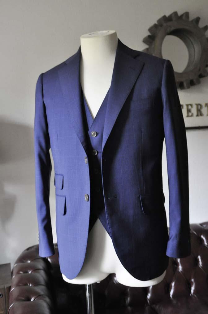 DSC0340-1 お客様のスーツの紹介- Biellesi ネイビーチェックスリーピース-
