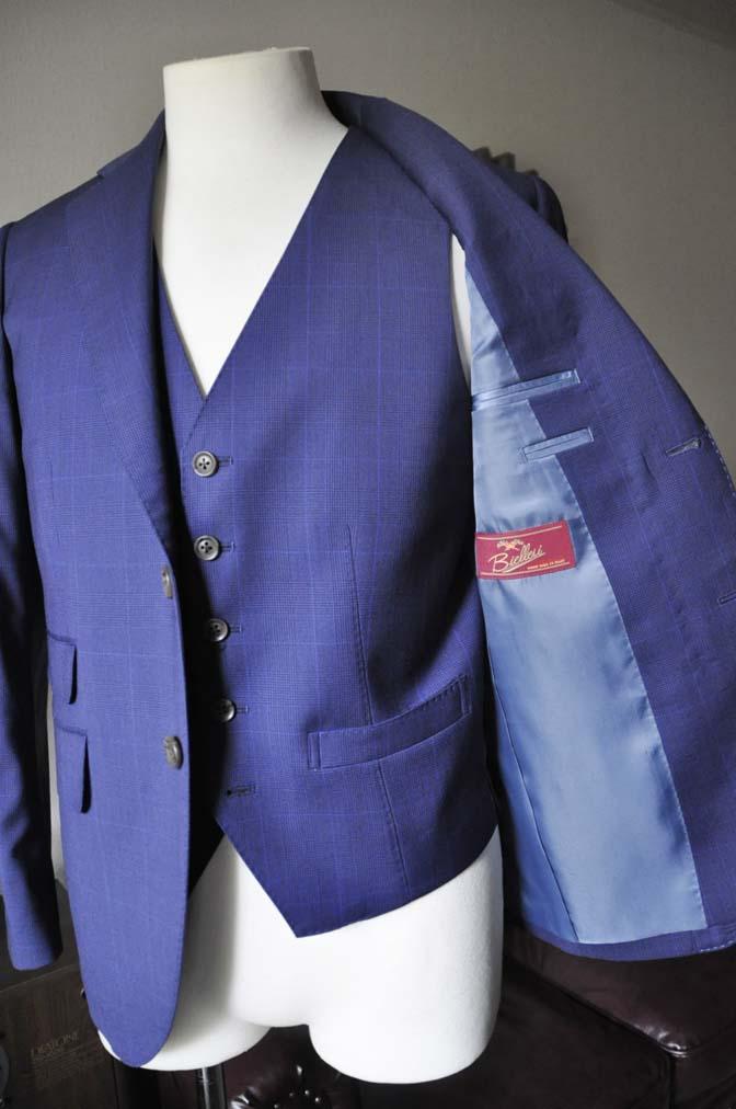 DSC0343-1 お客様のスーツの紹介- Biellesi ネイビーチェックスリーピース-
