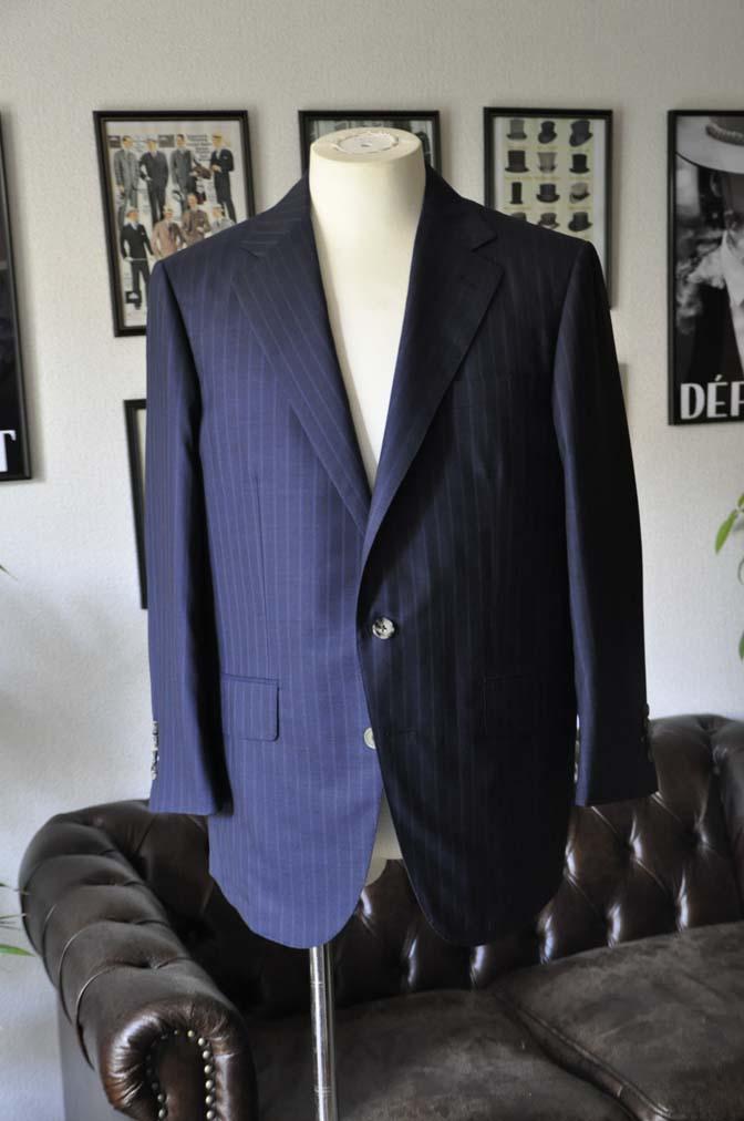 DSC03572 お客様のスーツの紹介-御幸毛織 SHALICK ネイビーストライプ-