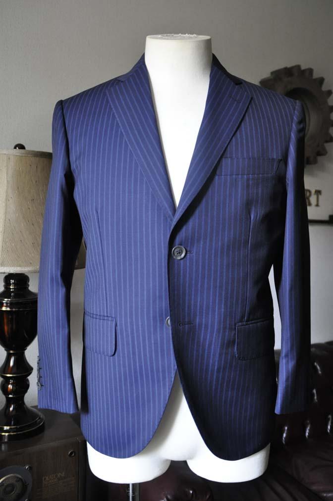 DSC0358-1 お客様のスーツの紹介- CANONICOネイビーストライプ- 名古屋の完全予約制オーダースーツ専門店DEFFERT
