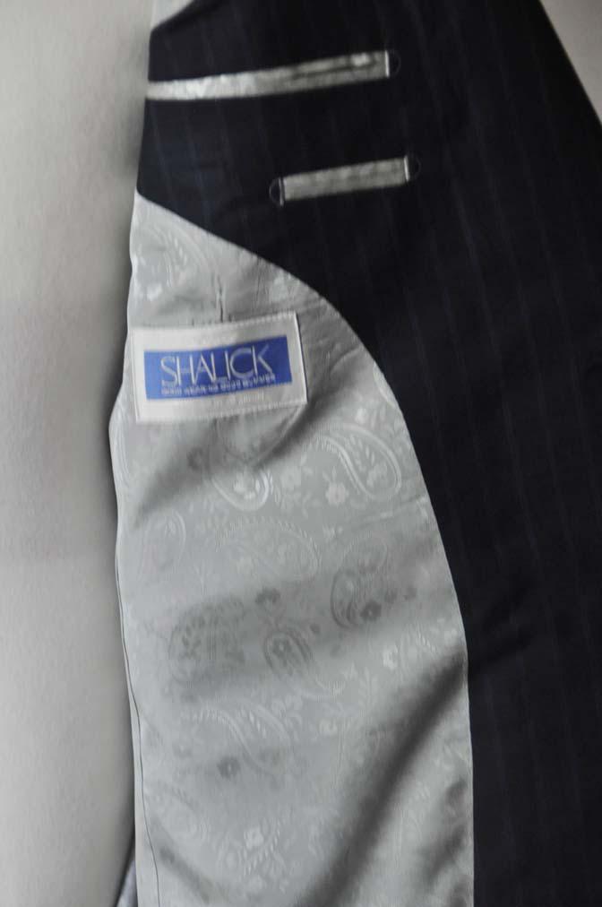 DSC03592 お客様のスーツの紹介-御幸毛織 SHALICK ネイビーストライプ-