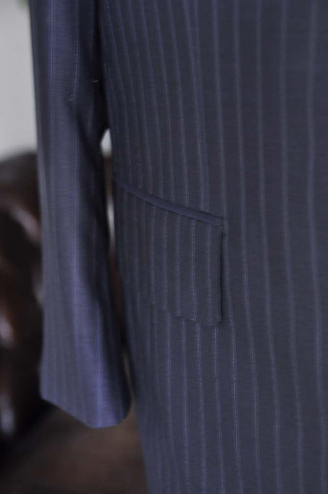 DSC03661 お客様のスーツの紹介-御幸毛織 SHALICK ネイビーストライプ-