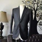お客様のスーツの紹介-Biellesiブラックシャドーストライプスーツ-
