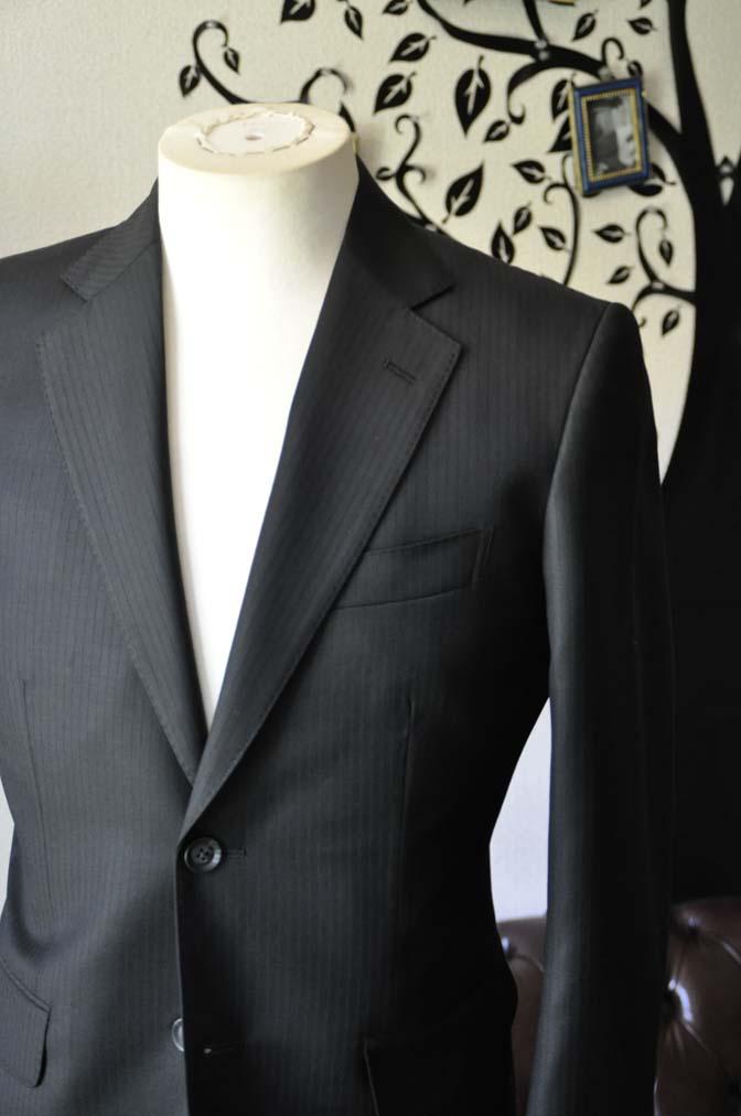 DSC0381-5 お客様のスーツの紹介-Biellesiブラックシャドーストライプスーツ- 名古屋の完全予約制オーダースーツ専門店DEFFERT
