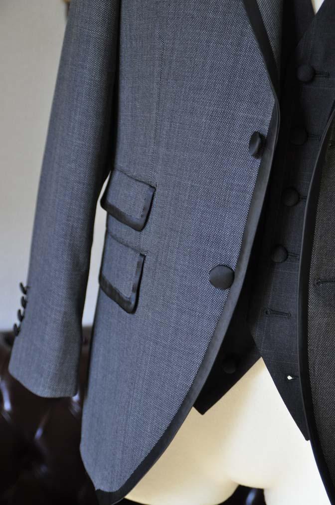 DSC0389-2 お客様のウエディング衣装の紹介-Biellesi グレーパイピングジャケット- 名古屋の完全予約制オーダースーツ専門店DEFFERT