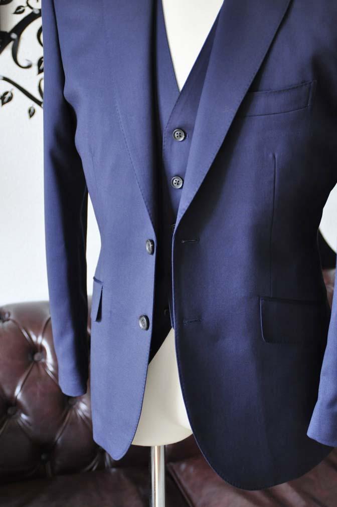 DSC0391-3 お客様のスーツの紹介-Biellesi無地ネイビー  スリーピーススーツ-