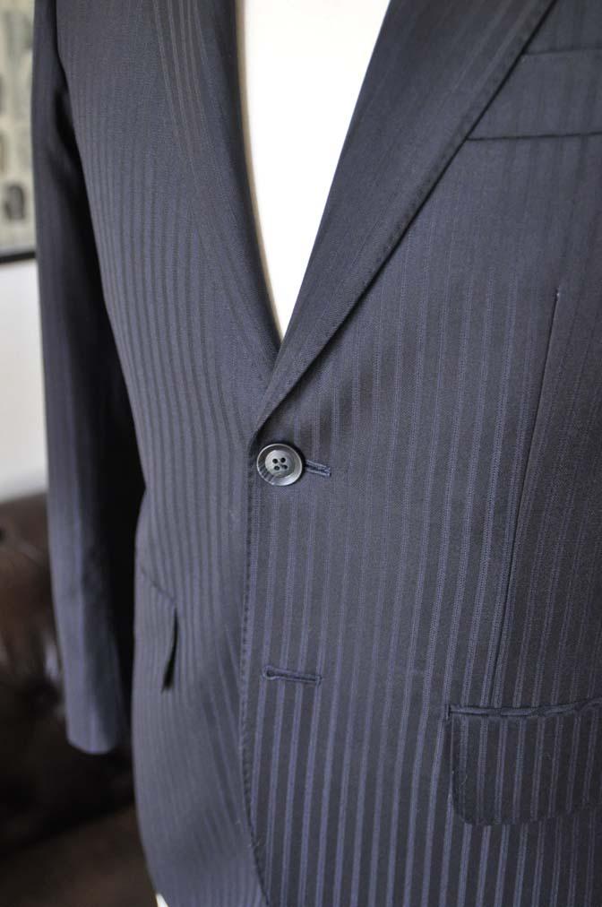 DSC04052 お客様のスーツの紹介- REDA ネイビーストライプ- 名古屋の完全予約制オーダースーツ専門店DEFFERT