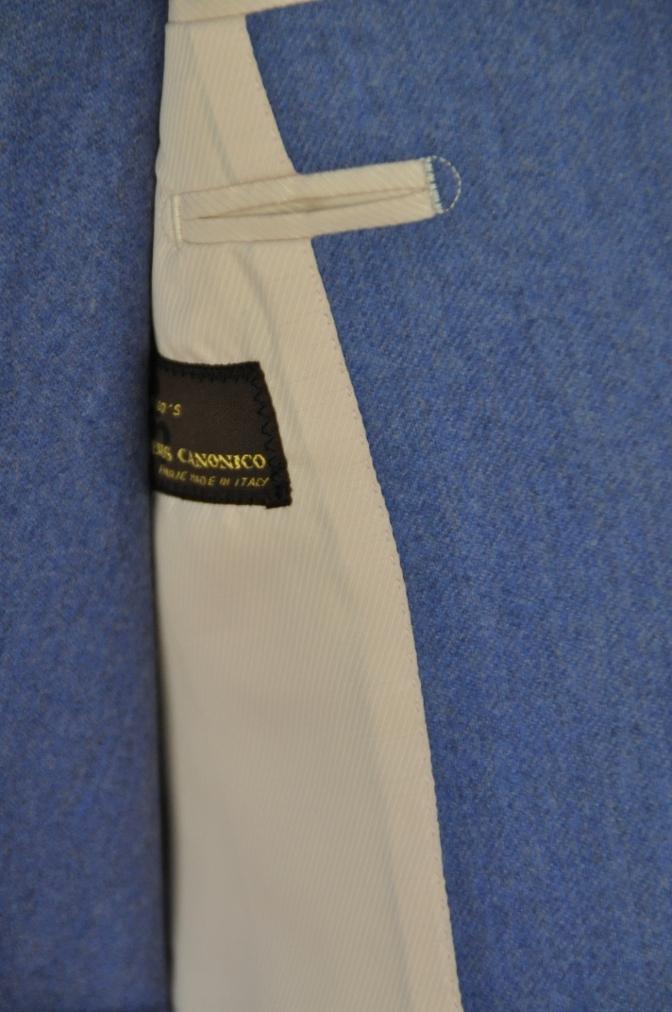 DSC0406 お客様のスーツの紹介-CANONICO ライトブルーフランネル ダブルジレのスリーピース-