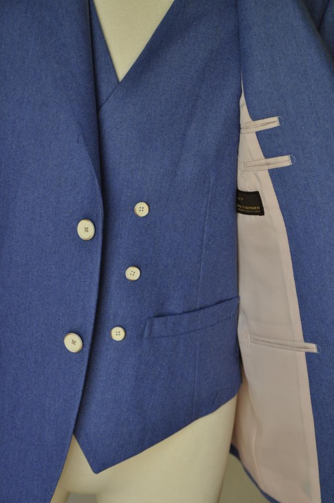 DSC0407 お客様のスーツの紹介-CANONICO ライトブルーフランネル ダブルジレのスリーピース-