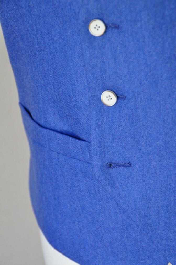 DSC04221 お客様のスーツの紹介-CANONICO ライトブルーフランネル ダブルジレのスリーピース-