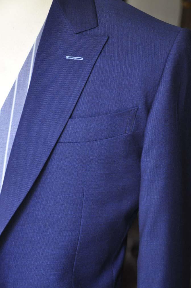 DSC0424 お客様のウエディング衣装の紹介-Biellesi 無地ネイビースーツ ブルーストライプベスト-