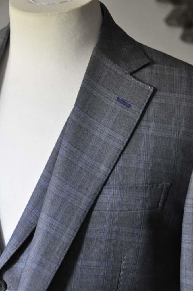 DSC0428-1 お客様のスーツの紹介- Loro Piana グレーチェックスリーピース- 名古屋の完全予約制オーダースーツ専門店DEFFERT