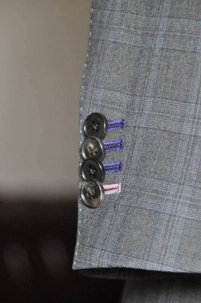 DSC0433-1 お客様のスーツの紹介- Loro Piana グレーチェックスリーピース- 名古屋の完全予約制オーダースーツ専門店DEFFERT