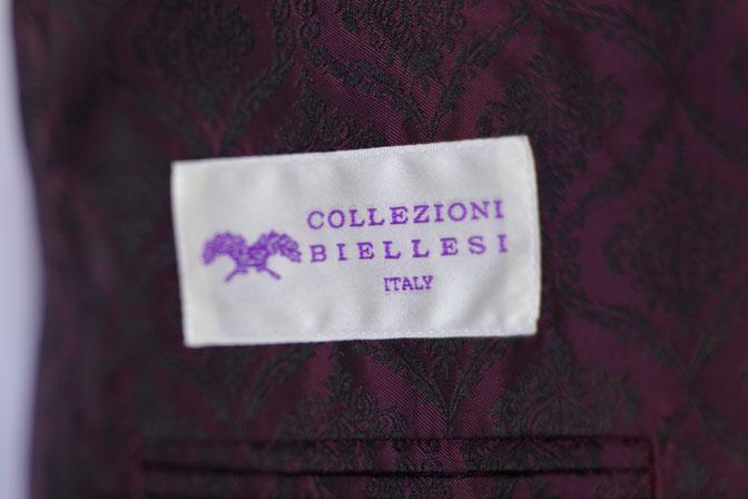 DSC04606 オーダースーツの紹介-Collezioni Biellesi ネイビー迷彩柄 成人式用スーツ-