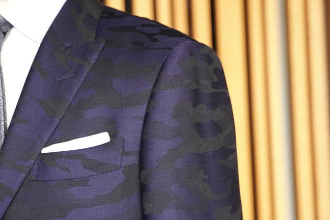 DSC04609 オーダースーツの紹介-Collezioni Biellesi ネイビー迷彩柄 成人式用スーツ-