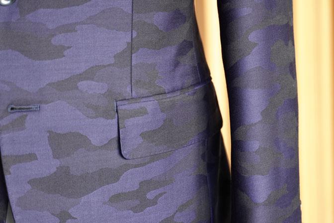 DSC04611 オーダースーツの紹介-Collezioni Biellesi ネイビー迷彩柄 成人式用スーツ-