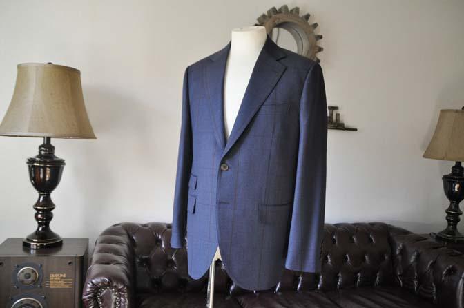 DSC0476-2 お客様のスーツの紹介- Biellesi ネイビーグレンチェックスーツ-