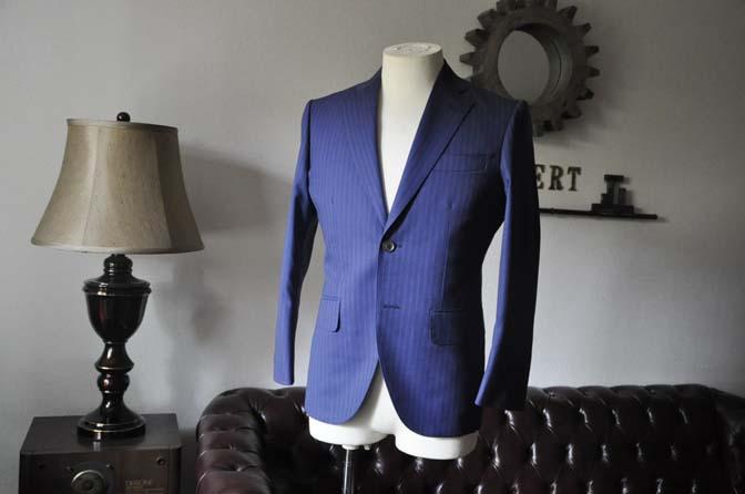 DSC0479-1 お客様のスーツの紹介- Biellesi ネイビーストライプスーツ- 名古屋の完全予約制オーダースーツ専門店DEFFERT