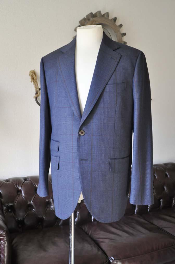DSC0479-3 お客様のスーツの紹介- Biellesi ネイビーグレンチェックスーツ-