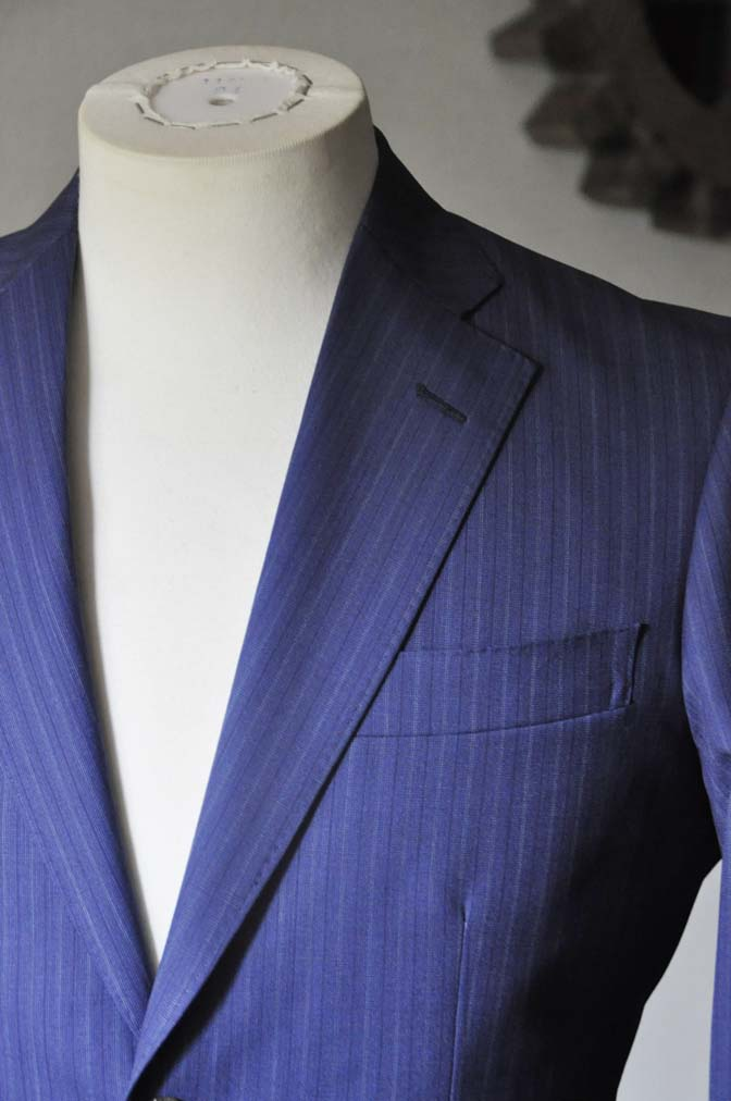 DSC0483-2 お客様のスーツの紹介- Biellesi ネイビーストライプスーツ- 名古屋の完全予約制オーダースーツ専門店DEFFERT