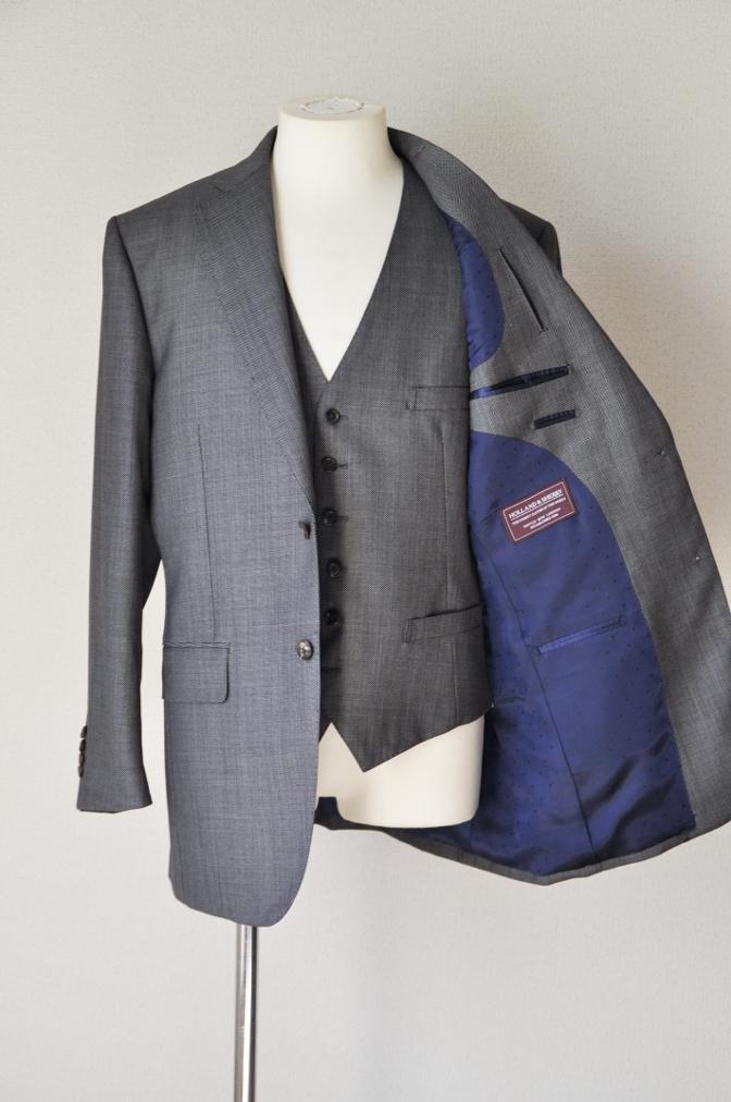 DSC0484 お客様のスーツの紹介-HOLLAND&SHERRY グレーバーズアイスリーピース-