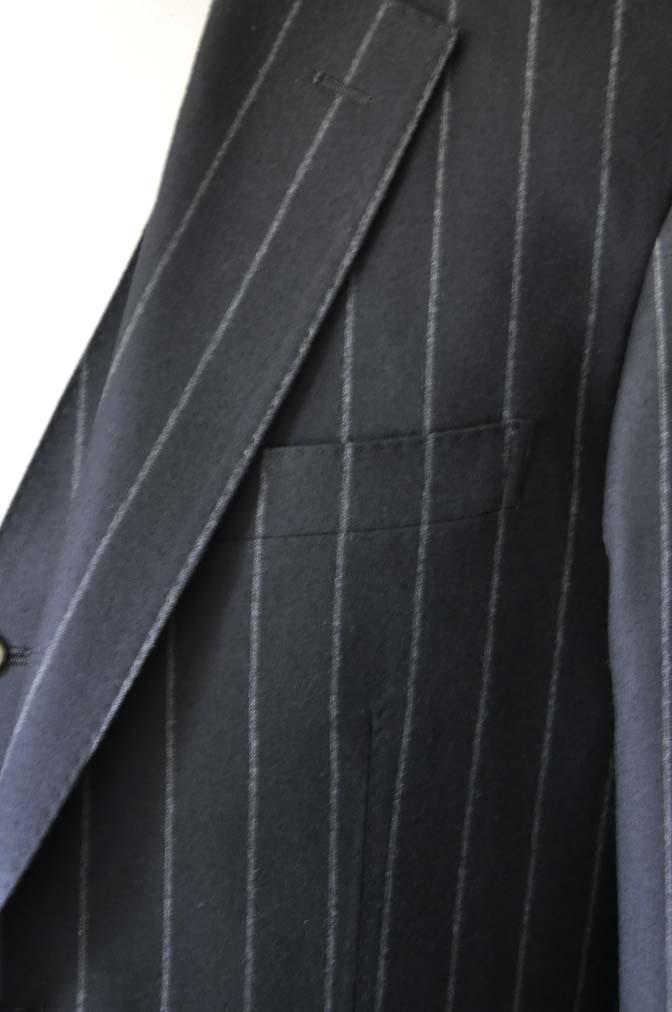 DSC0486-2 お客様のスーツの紹介- 御幸毛織 NAPOLENA(ナポレナ) フランネルブラックストライプ スリーピース-