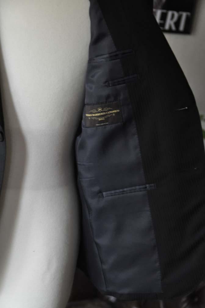 DSC0506 お客様のスーツの紹介-CANONICO ブラックヘリンボーン-