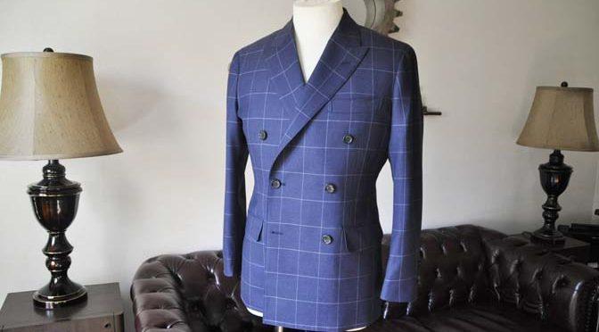 お客様のスーツの紹介-ネイビーウィンドペン ダブルスーツ-