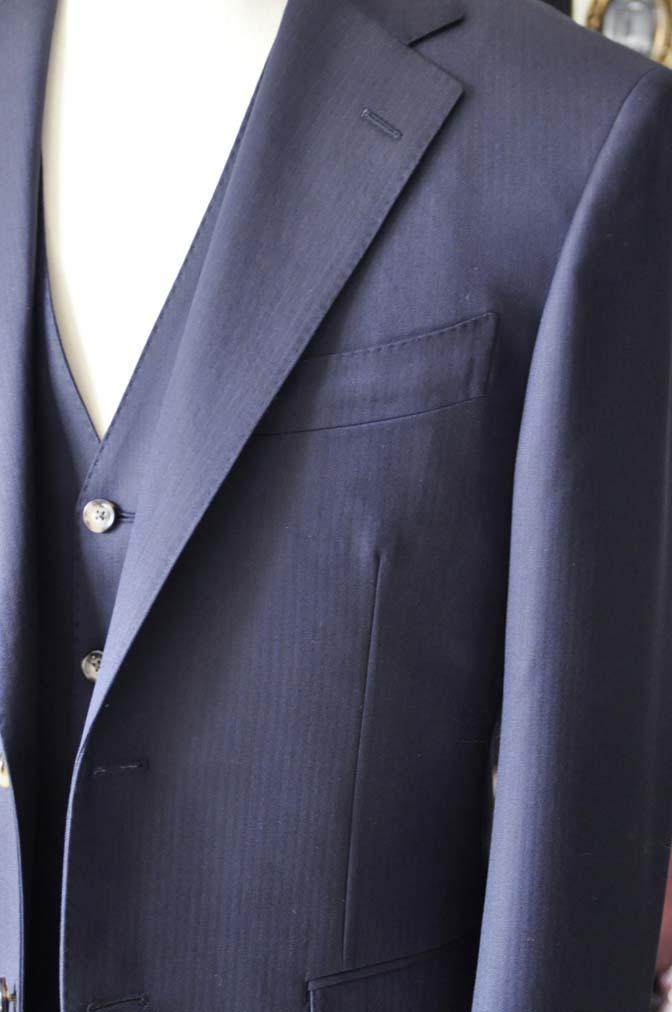 DSC0520-2 お客様のスーツの紹介-Biellesiネイビーヘリンボーン  スリーピーススーツ-