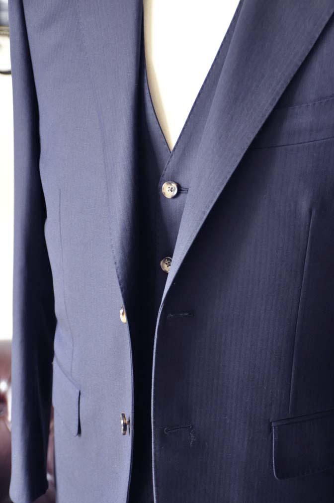 DSC0521-5 お客様のスーツの紹介-Biellesiネイビーヘリンボーン  スリーピーススーツ-