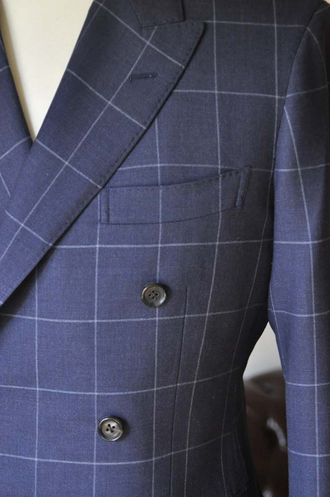 DSC0528-3 お客様のスーツの紹介-ネイビーウィンドペン ダブルスーツ-