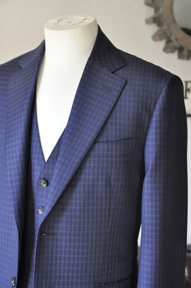 DSC0566-4 お客様のスーツの紹介-CANONICOネイビーチェック スリーピース- 名古屋の完全予約制オーダースーツ専門店DEFFERT