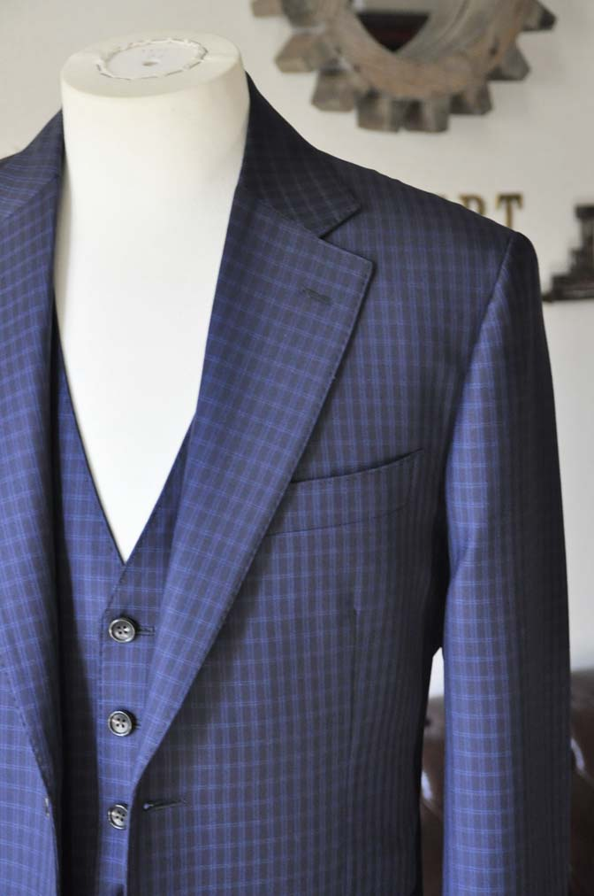 DSC0567-3 お客様のスーツの紹介-CANONICOネイビーチェック スリーピース-