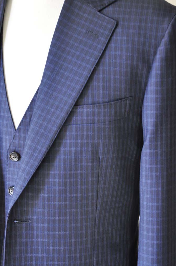 DSC0568-4 お客様のスーツの紹介-CANONICOネイビーチェック スリーピース- 名古屋の完全予約制オーダースーツ専門店DEFFERT