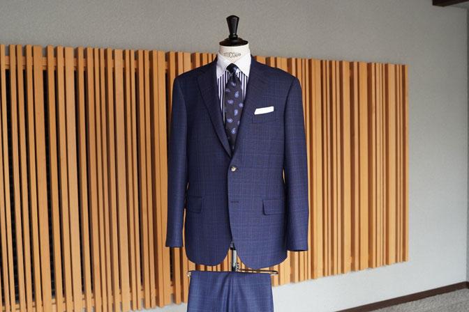 DSC05680 オーダースーツの紹介-Biellesiネイビーチェック スーツ-
