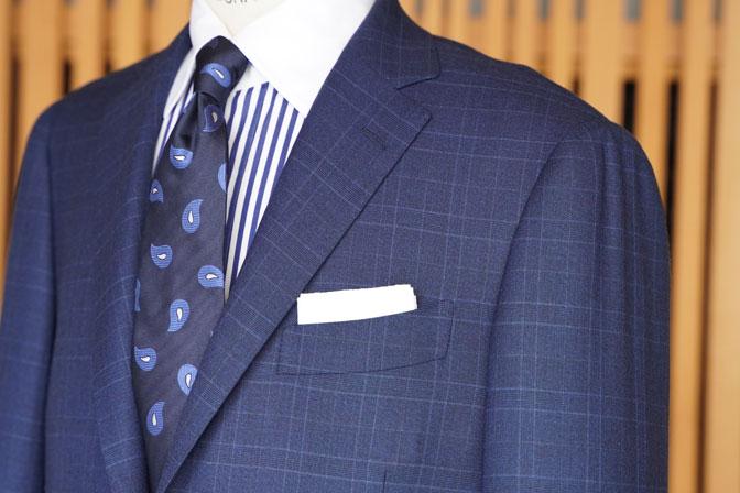 DSC05685 オーダースーツの紹介-Biellesiネイビーチェック スーツ-