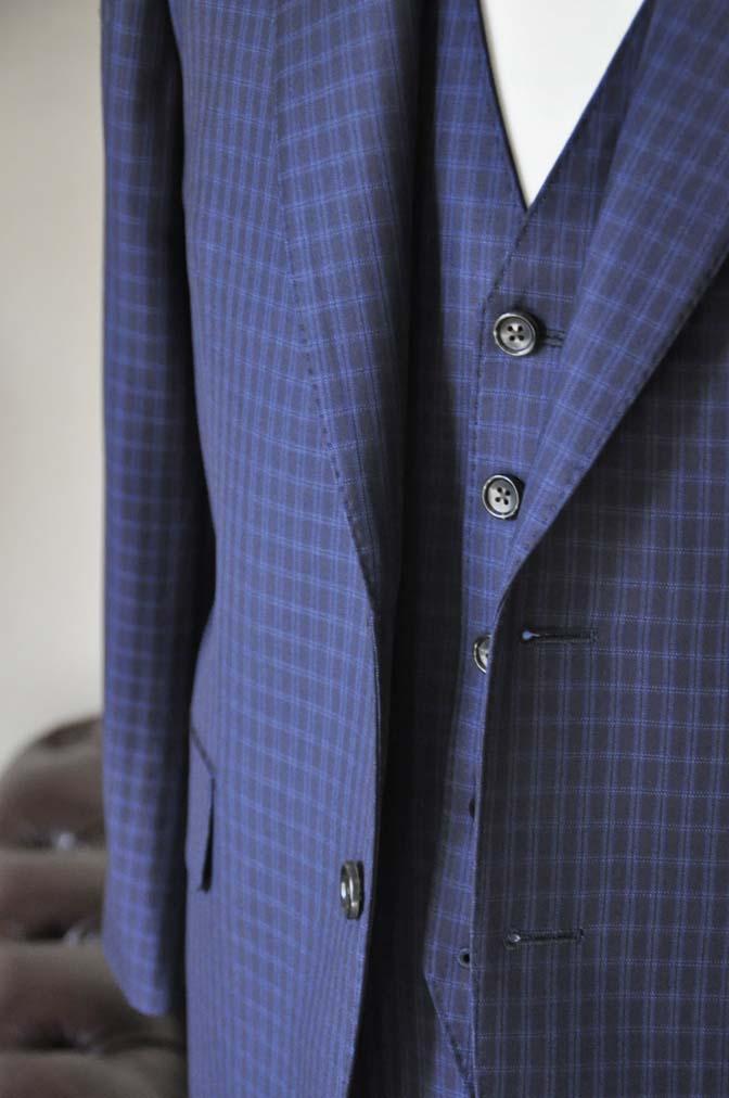 DSC0569-4 お客様のスーツの紹介-CANONICOネイビーチェック スリーピース- 名古屋の完全予約制オーダースーツ専門店DEFFERT