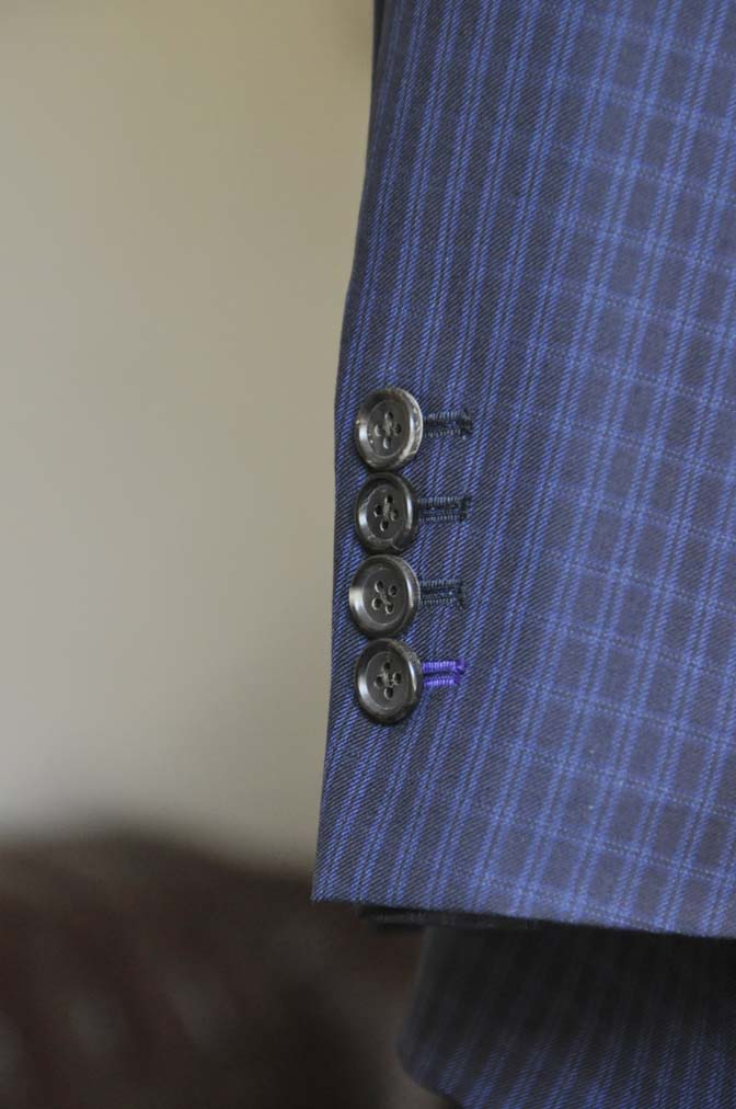 DSC0572-2 お客様のスーツの紹介-CANONICOネイビーチェック スリーピース- 名古屋の完全予約制オーダースーツ専門店DEFFERT