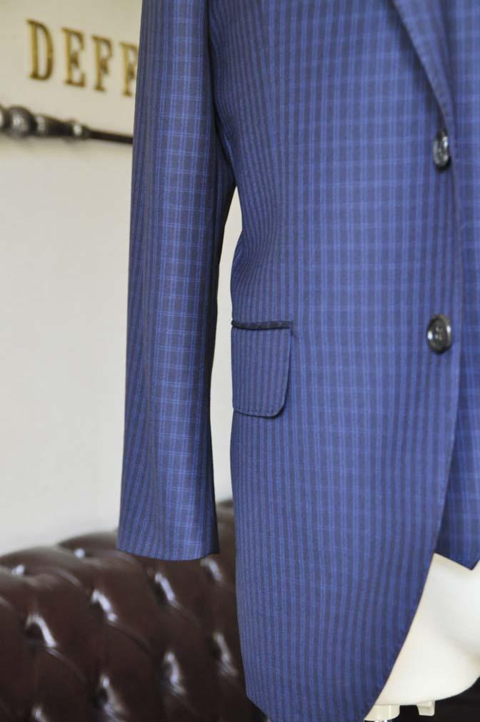 DSC0577-2 お客様のスーツの紹介-CANONICOネイビーチェック スリーピース- 名古屋の完全予約制オーダースーツ専門店DEFFERT