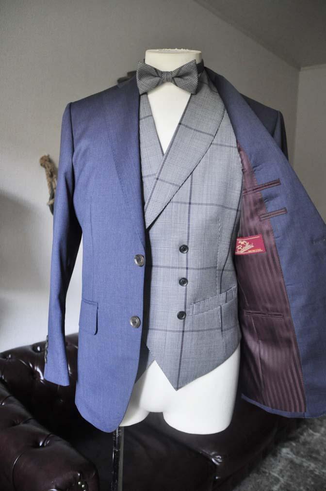 DSC0578-3 お客様のウエディング衣装の紹介-Biellesi ネイビースーツ グレーチェックベスト-