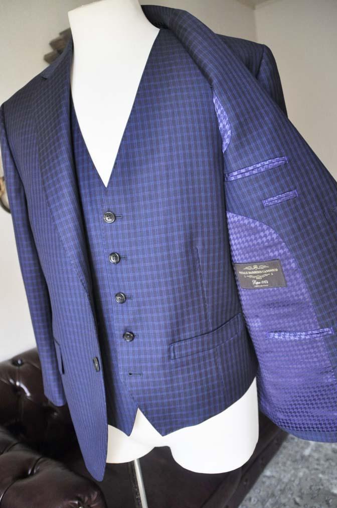 DSC0578-4 お客様のスーツの紹介-CANONICOネイビーチェック スリーピース- 名古屋の完全予約制オーダースーツ専門店DEFFERT
