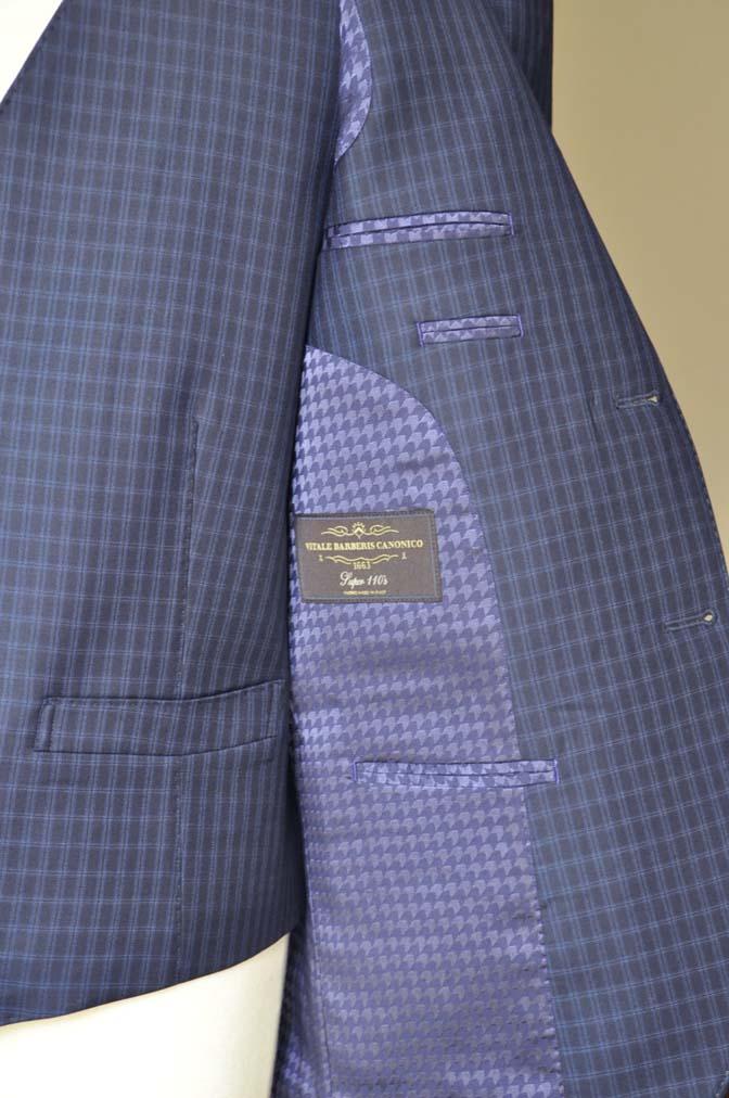 DSC0581-3 お客様のスーツの紹介-CANONICOネイビーチェック スリーピース-