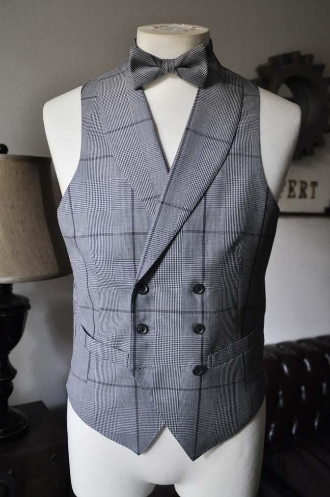 DSC0594-2 お客様のウエディング衣装の紹介-Biellesi ネイビースーツ グレーチェックベスト-